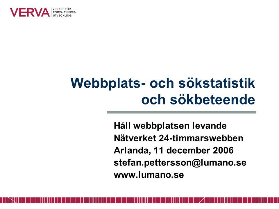 Webbplats- och sökstatistik och sökbeteende