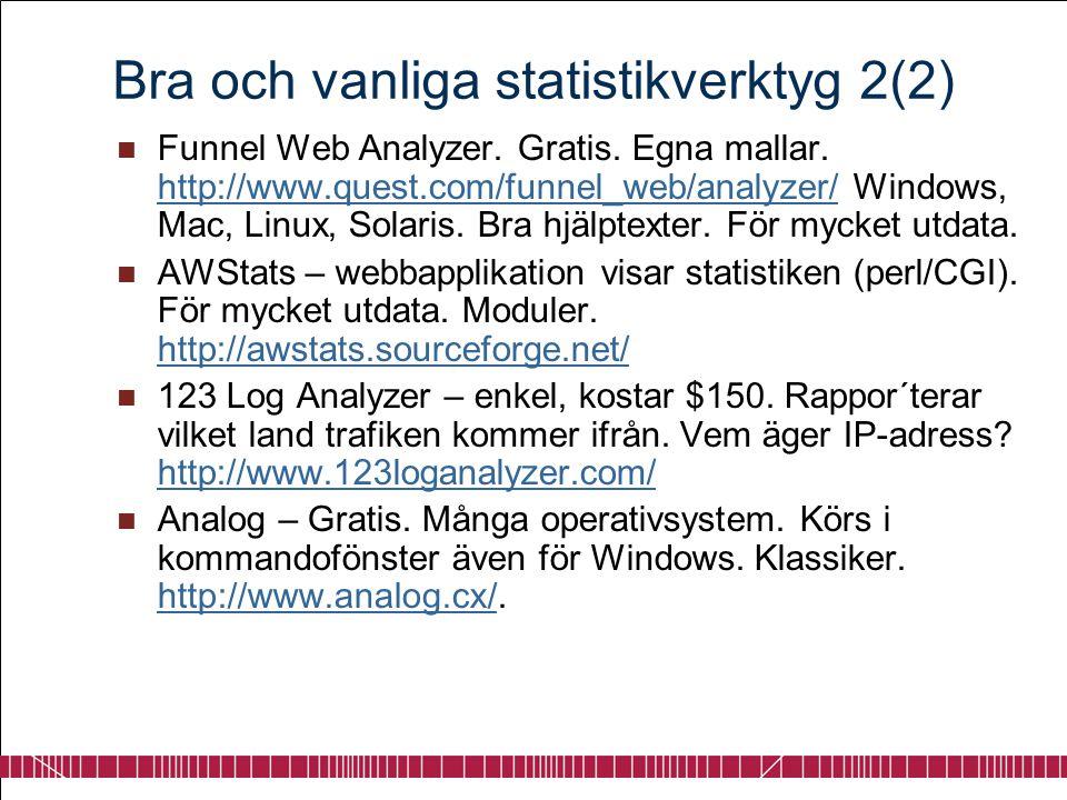 Bra och vanliga statistikverktyg 2(2)