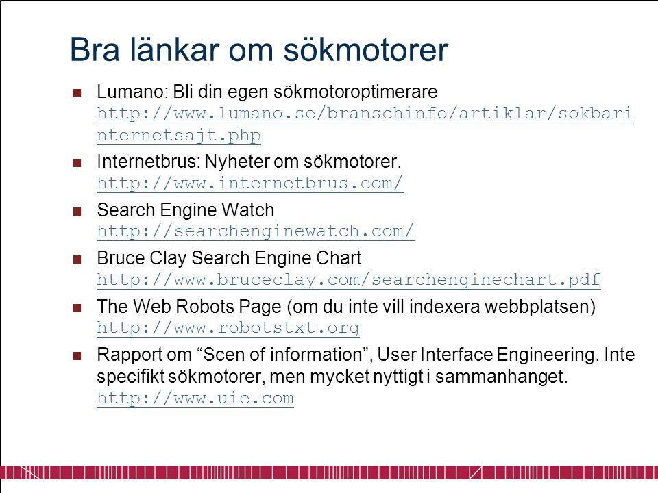 Bra länkar om sökmotorer