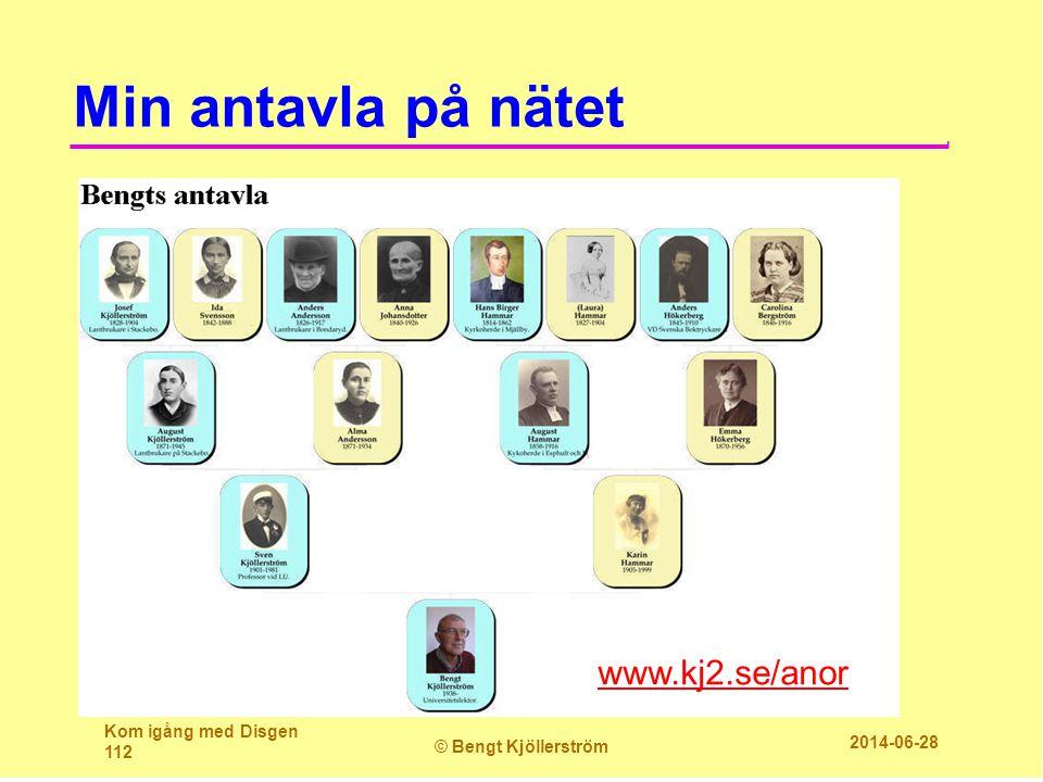 Min antavla på nätet www.kj2.se/anor Kom igång med Disgen 112