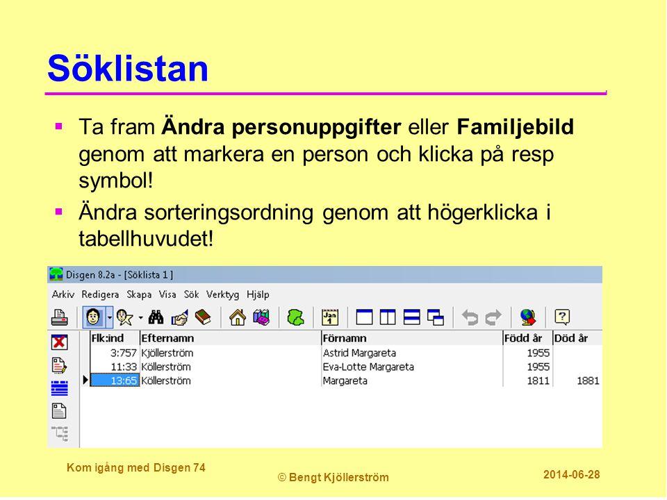 Söklistan Ta fram Ändra personuppgifter eller Familjebild genom att markera en person och klicka på resp symbol!