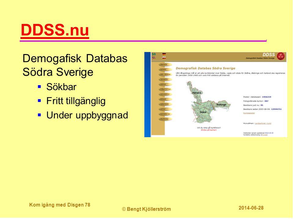 DDSS.nu Demogafisk Databas Södra Sverige Sökbar Fritt tillgänglig