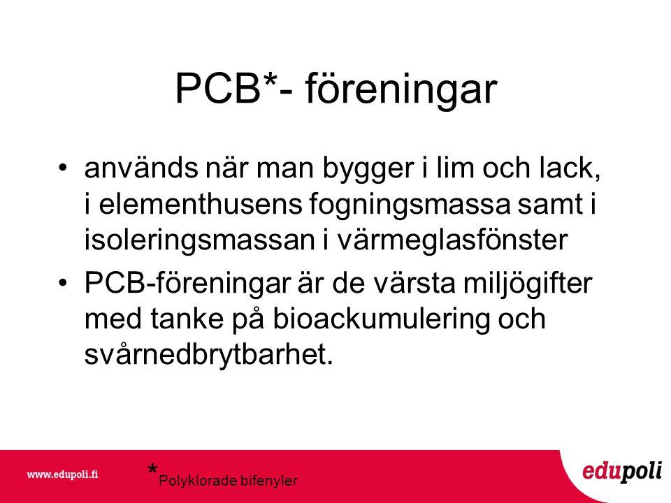 PCB*- föreningar *Polyklorade bifenyler