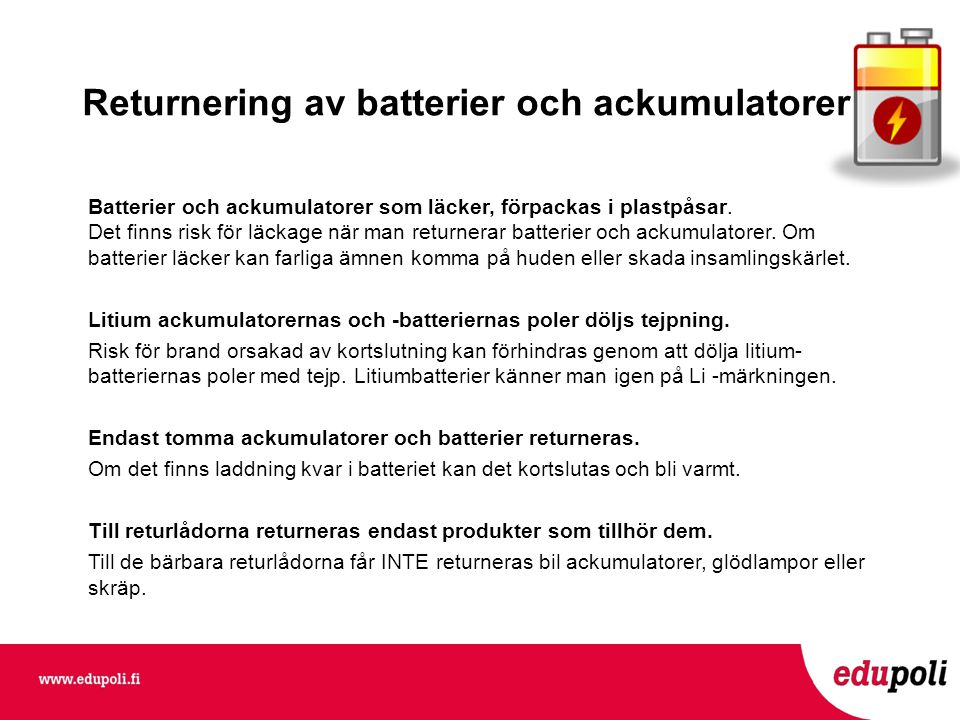 Returnering av batterier och ackumulatorer