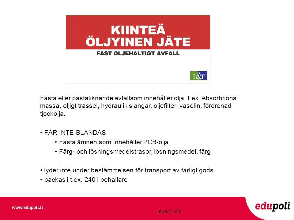 Fasta ämnen som innehåller PCB-olja