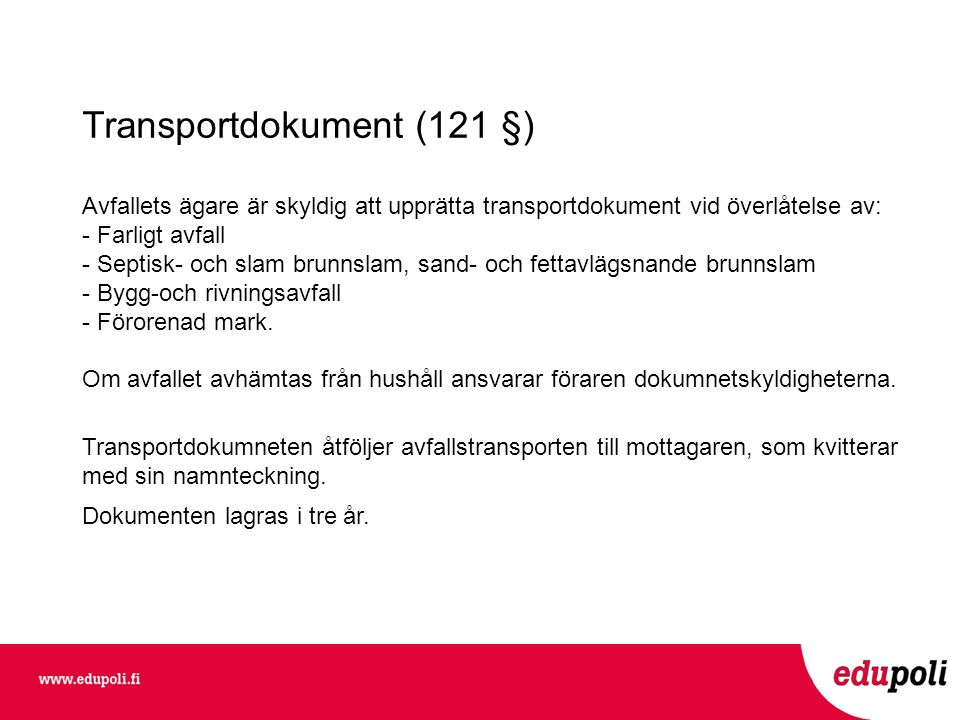 Transportdokument (121 §)