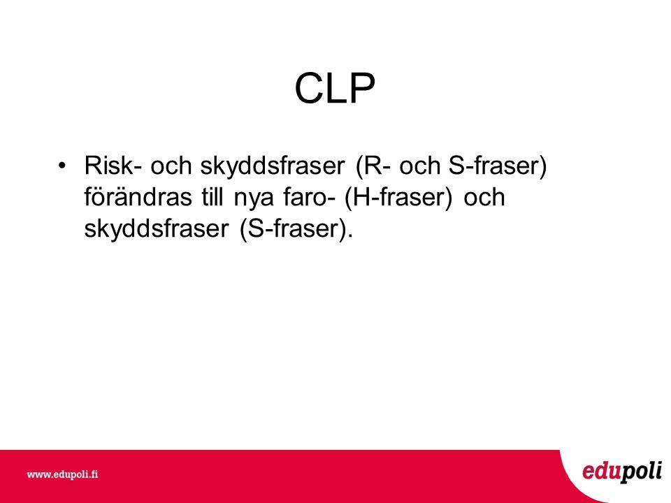 CLP Risk- och skyddsfraser (R- och S-fraser) förändras till nya faro- (H-fraser) och skyddsfraser (S-fraser).