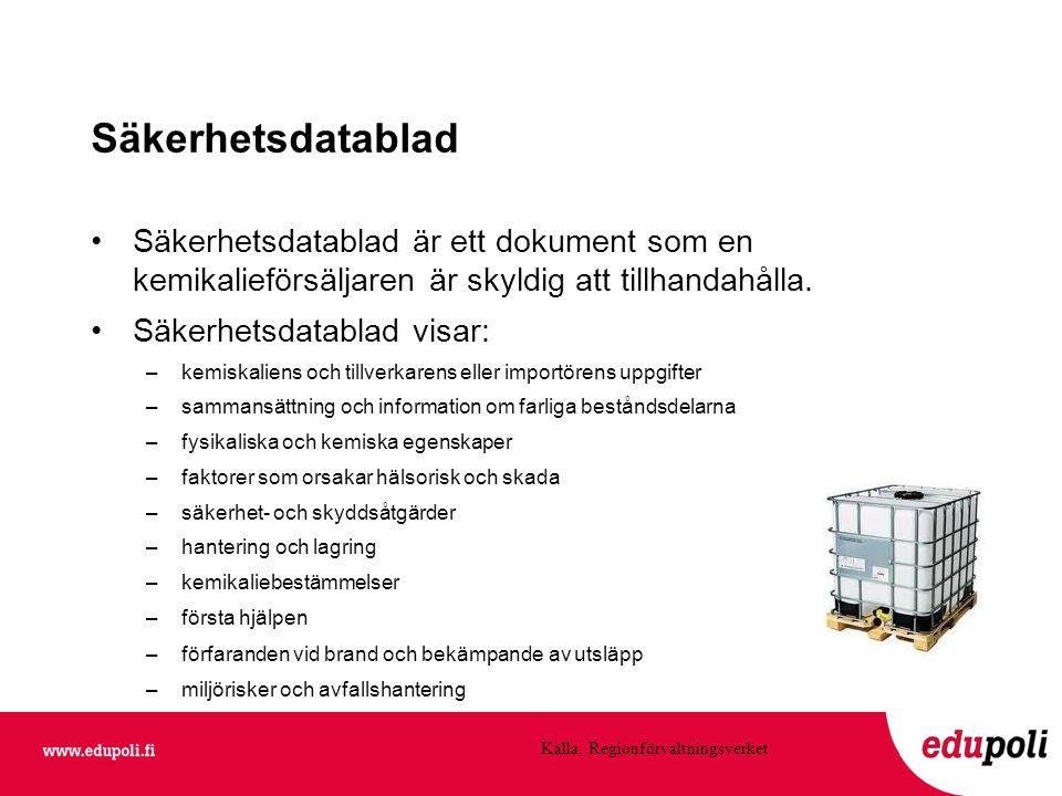 Säkerhetsdatablad Säkerhetsdatablad är ett dokument som en kemikalieförsäljaren är skyldig att tillhandahålla.