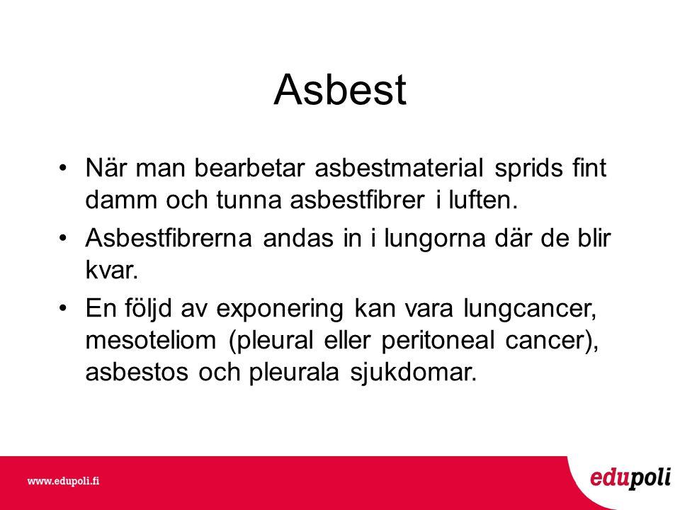 Asbest När man bearbetar asbestmaterial sprids fint damm och tunna asbestfibrer i luften. Asbestfibrerna andas in i lungorna där de blir kvar.