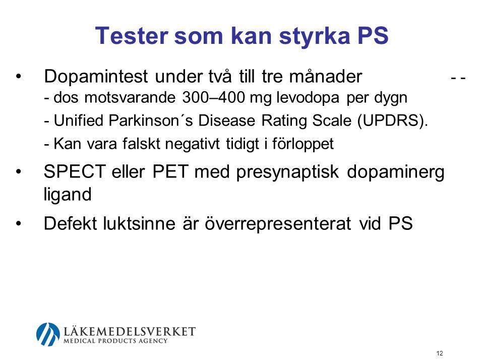 Tester som kan styrka PS