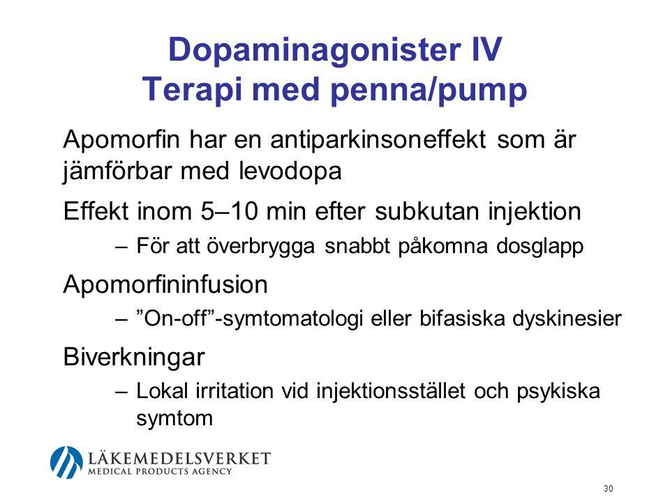 Dopaminagonister IV Terapi med penna/pump