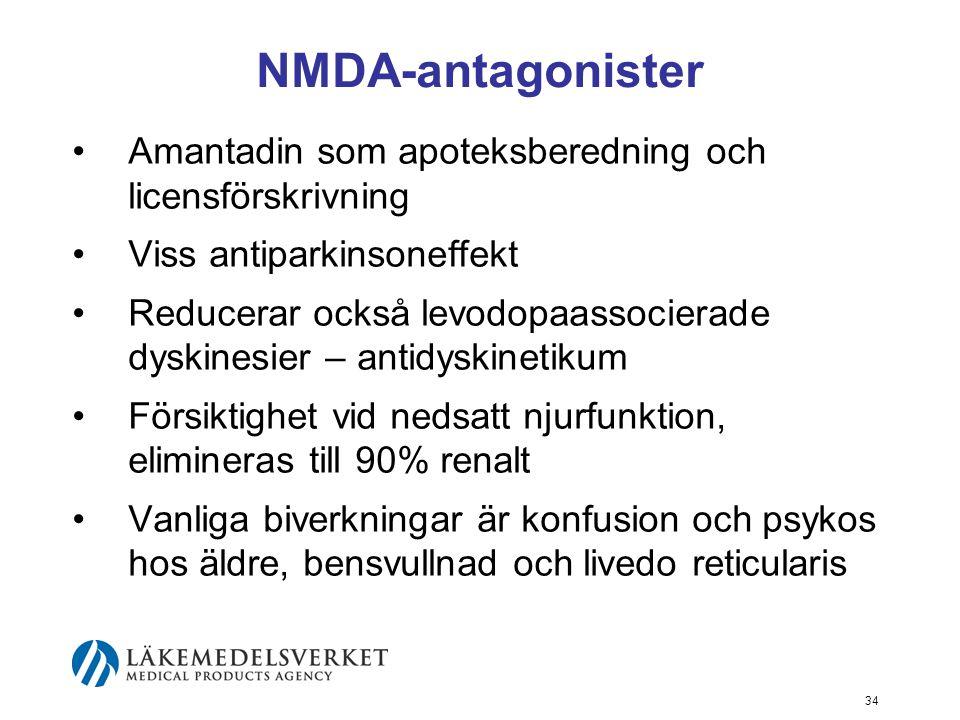 NMDA-antagonister Amantadin som apoteksberedning och licensförskrivning. Viss antiparkinsoneffekt.
