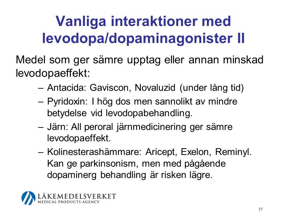 Vanliga interaktioner med levodopa/dopaminagonister II