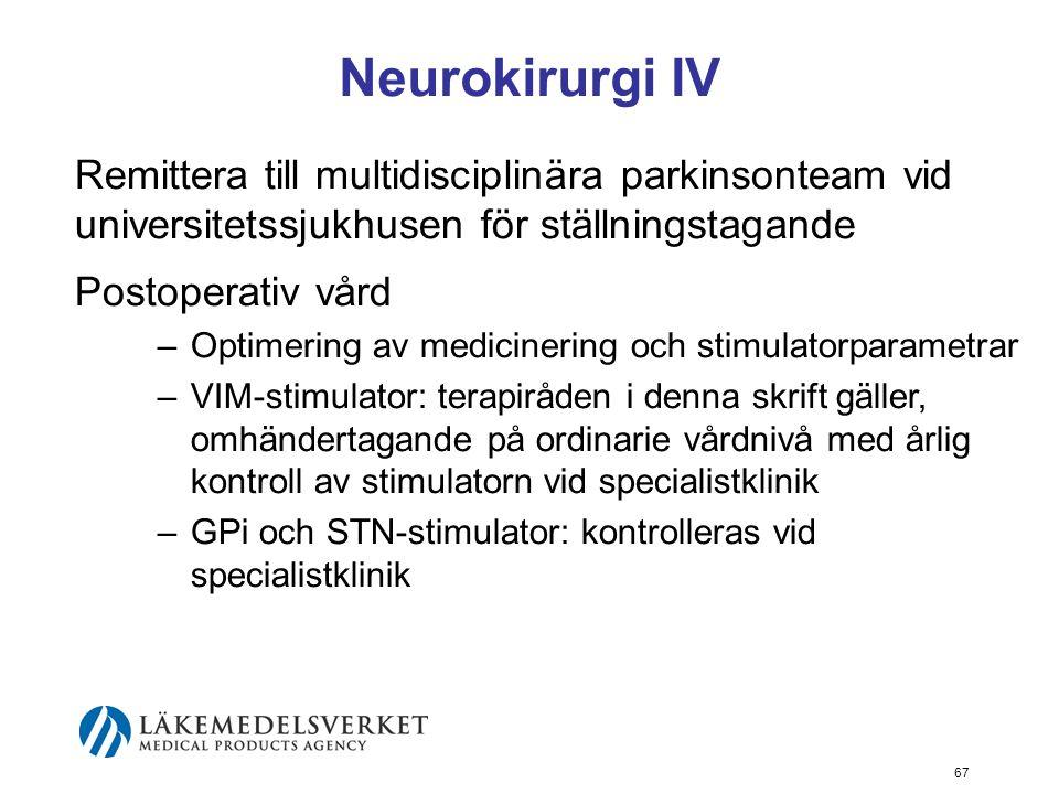 Neurokirurgi IV Remittera till multidisciplinära parkinsonteam vid universitetssjukhusen för ställningstagande.