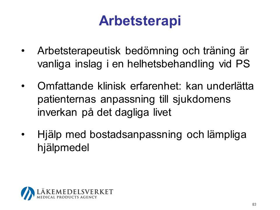 Arbetsterapi Arbetsterapeutisk bedömning och träning är vanliga inslag i en helhetsbehandling vid PS.
