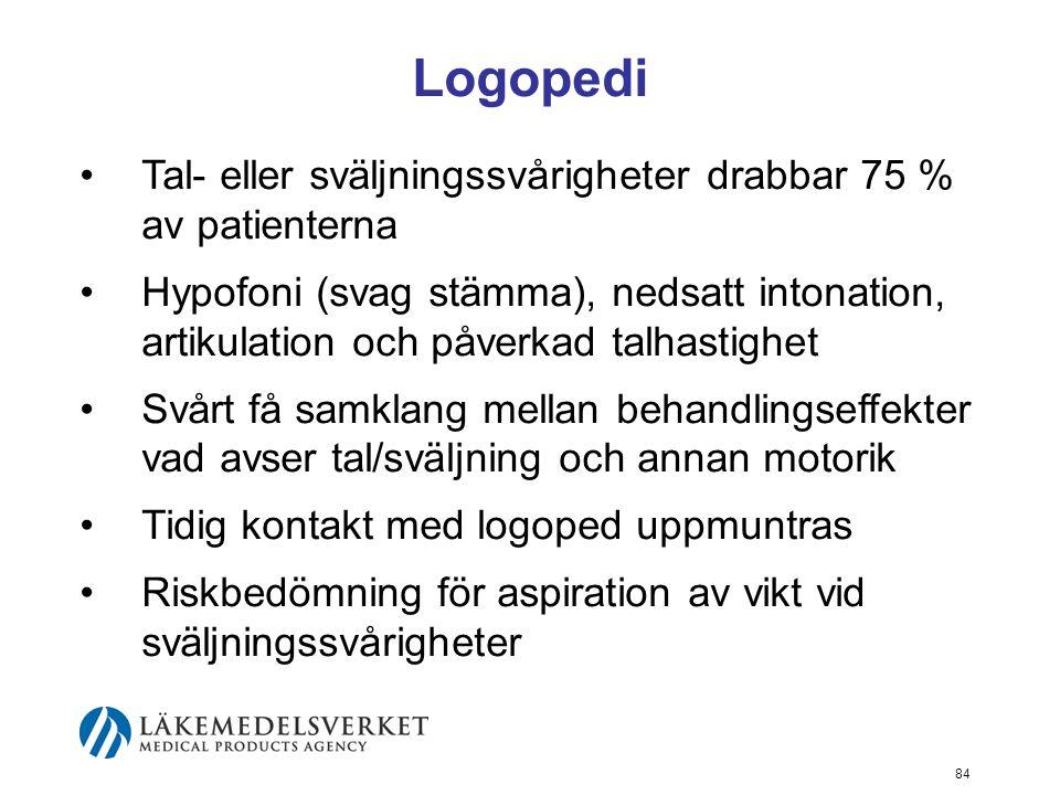 Logopedi Tal- eller sväljningssvårigheter drabbar 75 % av patienterna