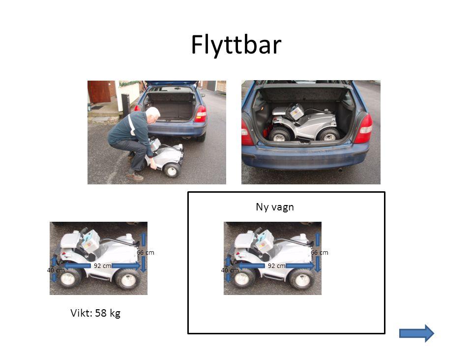 Flyttbar Ny vagn 66 cm 66 cm 92 cm 92 cm 40 cm 40 cm Vikt: 58 kg