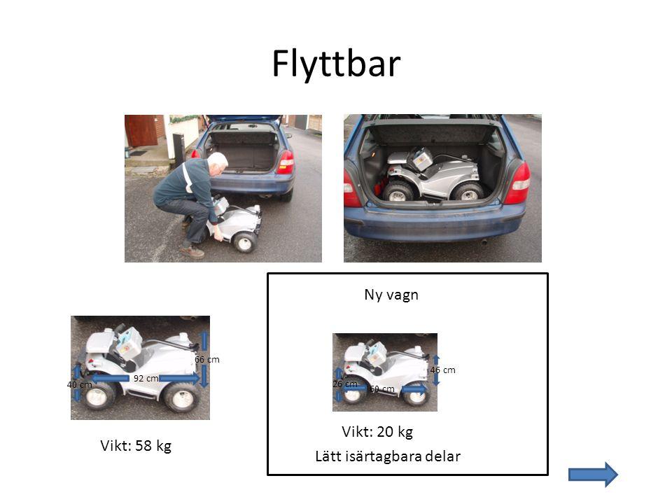 Flyttbar Ny vagn Vikt: 20 kg Vikt: 58 kg Lätt isärtagbara delar 66 cm