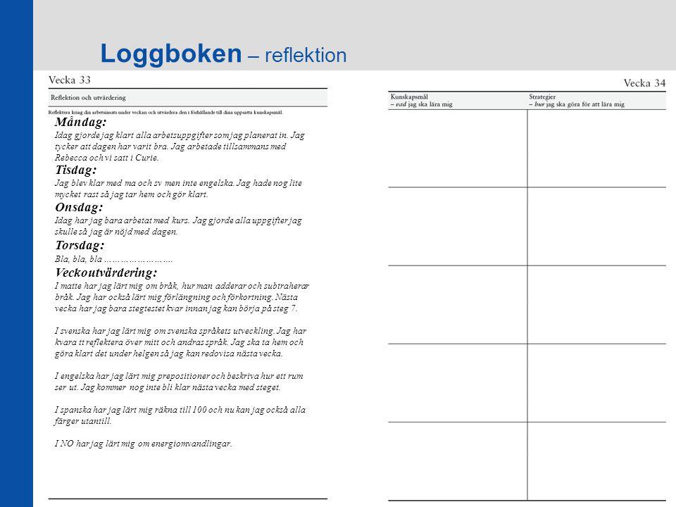 Loggboken – reflektion