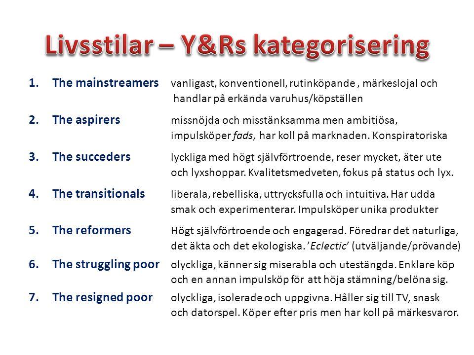 Livsstilar – Y&Rs kategorisering
