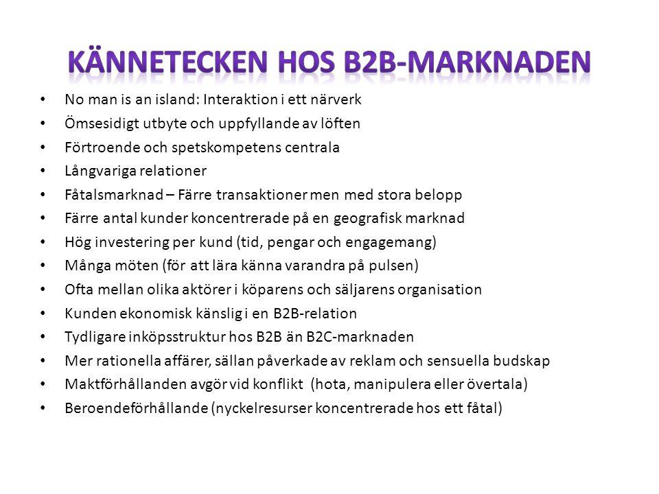 Kännetecken hos B2B-marknaden