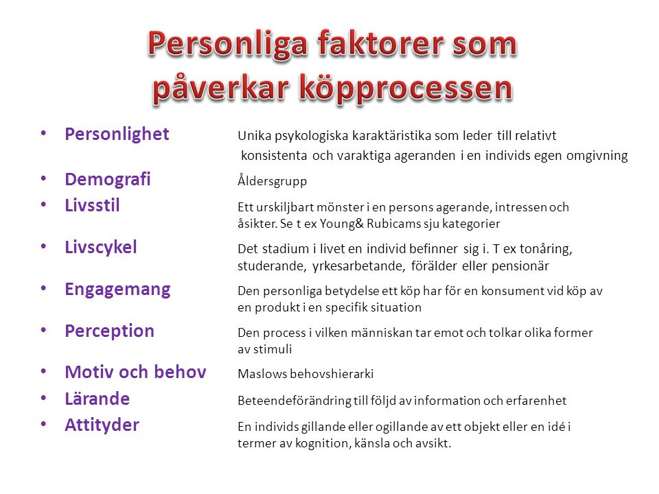 Personliga faktorer som påverkar köpprocessen