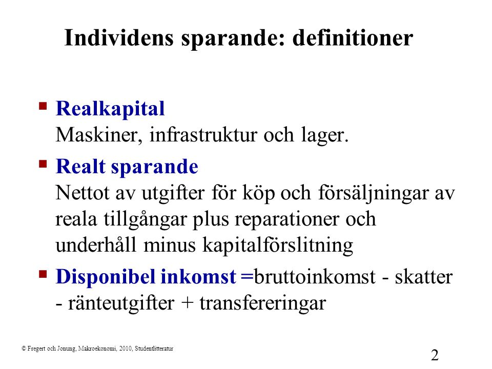 Individens sparande: definitioner