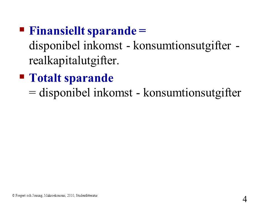 Totalt sparande = disponibel inkomst - konsumtionsutgifter