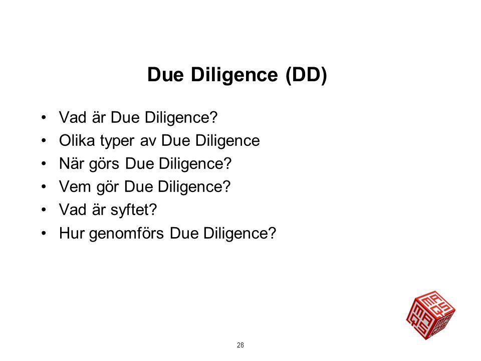 Due Diligence (DD) Vad är Due Diligence Olika typer av Due Diligence