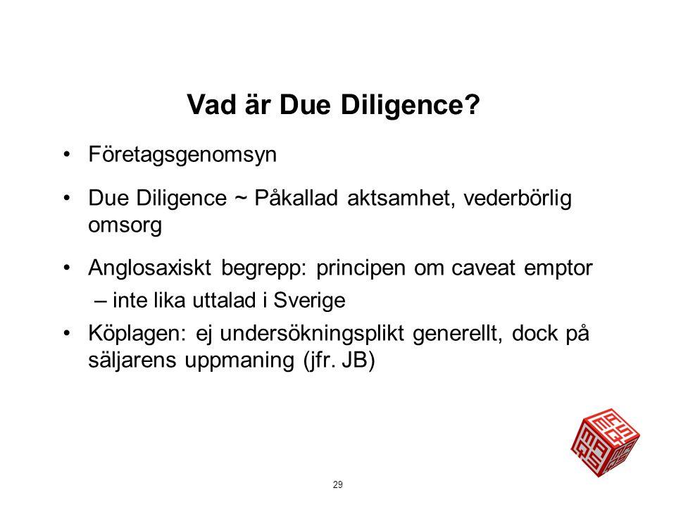 Vad är Due Diligence Företagsgenomsyn