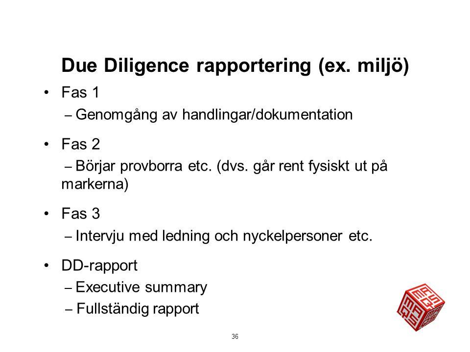 Due Diligence rapportering (ex. miljö)