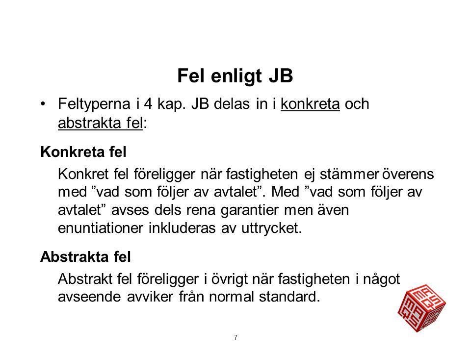 Fel enligt JB Feltyperna i 4 kap. JB delas in i konkreta och abstrakta fel: Konkreta fel.