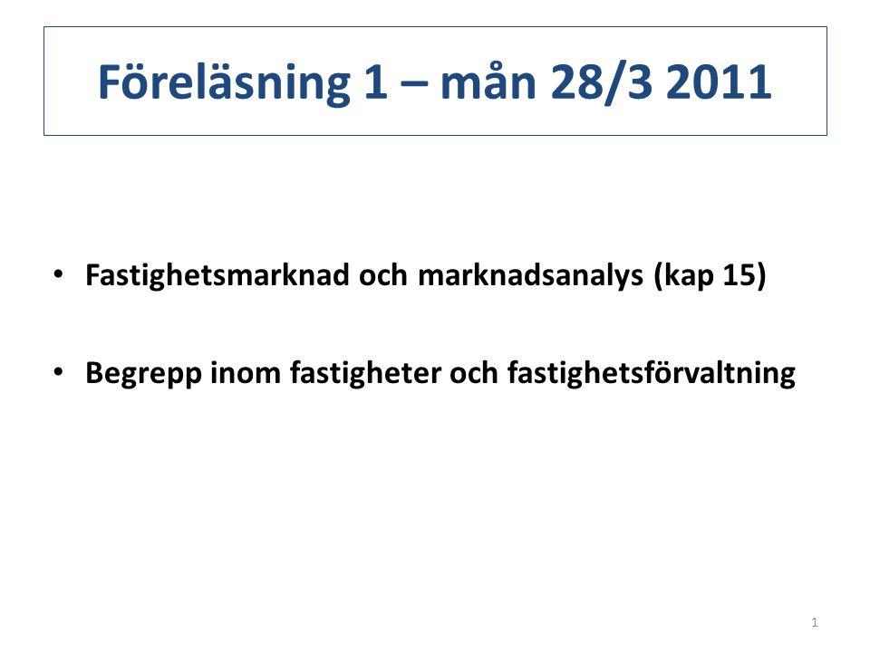 Föreläsning 1 – mån 28/3 2011 Fastighetsmarknad och marknadsanalys (kap 15) Begrepp inom fastigheter och fastighetsförvaltning.