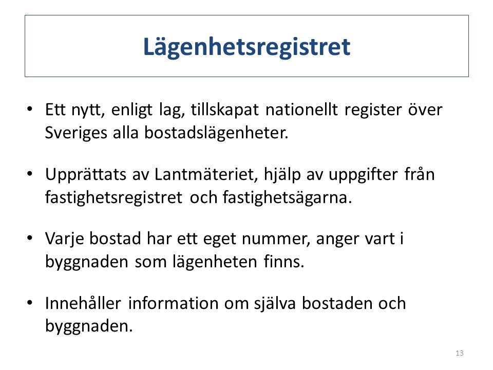Lägenhetsregistret Ett nytt, enligt lag, tillskapat nationellt register över Sveriges alla bostadslägenheter.