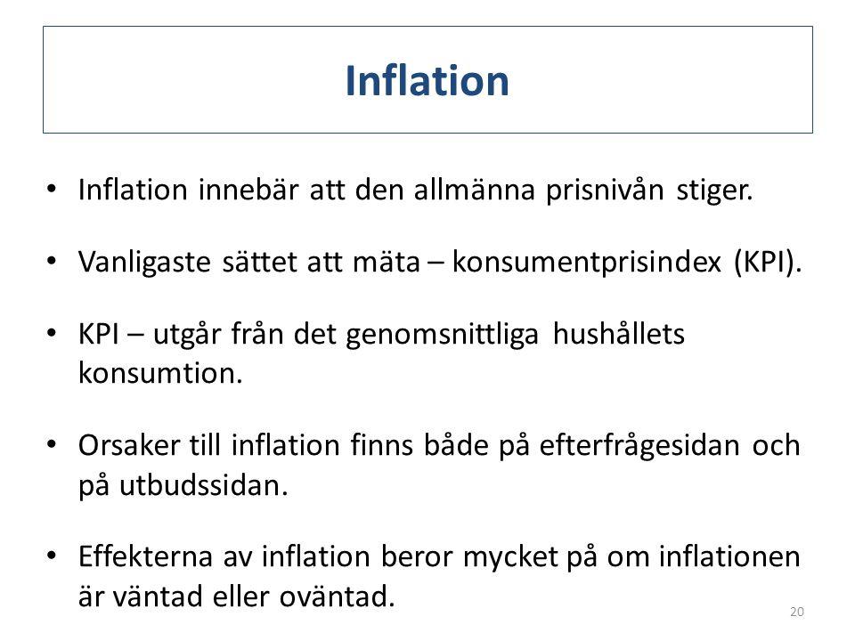 Inflation Inflation innebär att den allmänna prisnivån stiger.