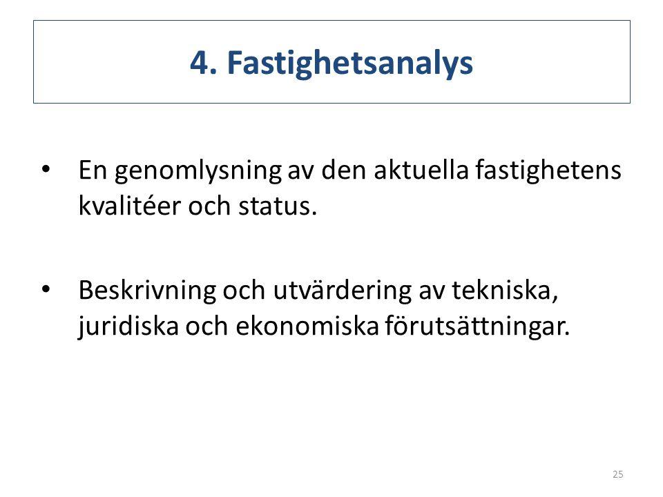 4. Fastighetsanalys En genomlysning av den aktuella fastighetens kvalitéer och status.