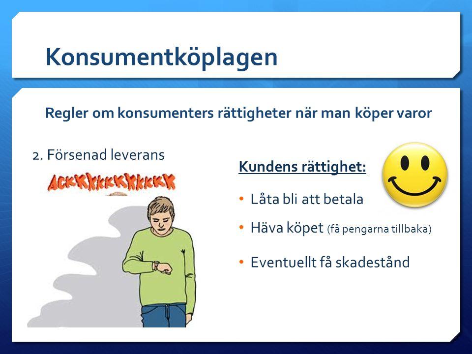 Konsumentköplagen Regler om konsumenters rättigheter när man köper varor. 2. Försenad leverans. Kundens rättighet: