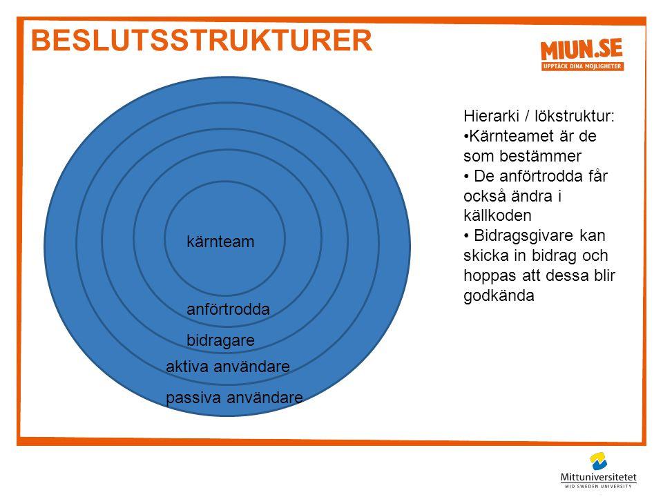 beslutsstrukturer Hierarki / lökstruktur: