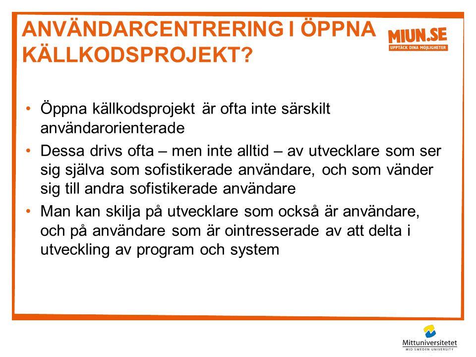 Användarcentrering i öppna källkodsprojekt
