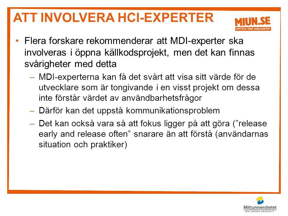 Att involvera HCI-experter