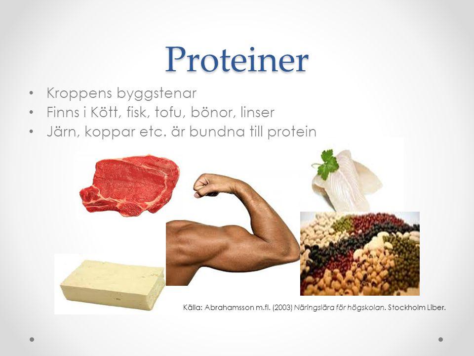 Proteiner Kroppens byggstenar Finns i Kött, fisk, tofu, bönor, linser