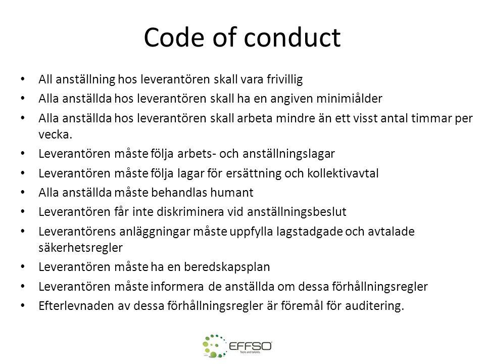 Code of conduct All anställning hos leverantören skall vara frivillig