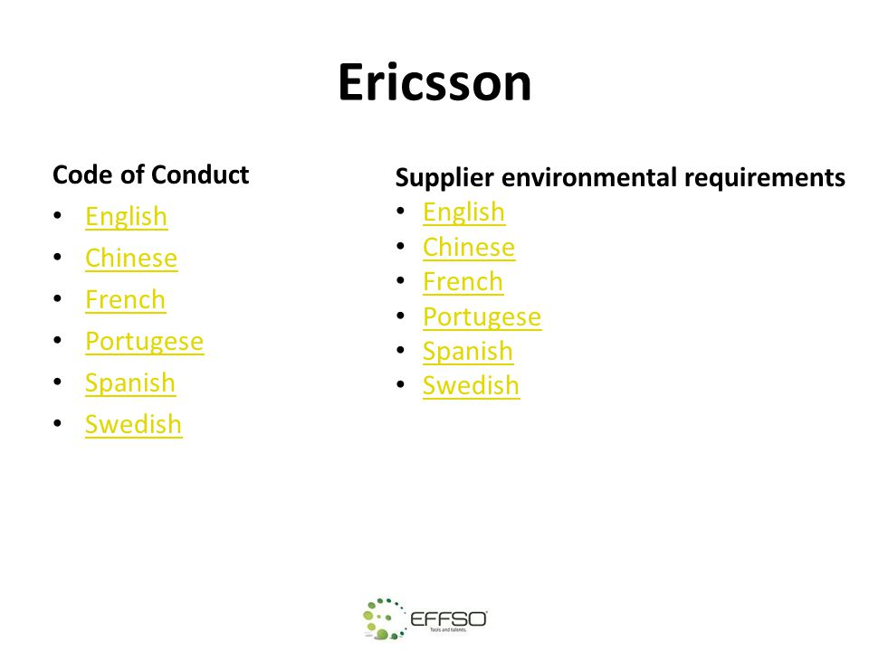 Ericsson Code of Conduct Supplier environmental requirements English