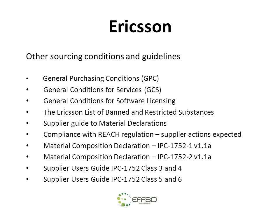 Ericsson Other sourcing conditions and guidelines