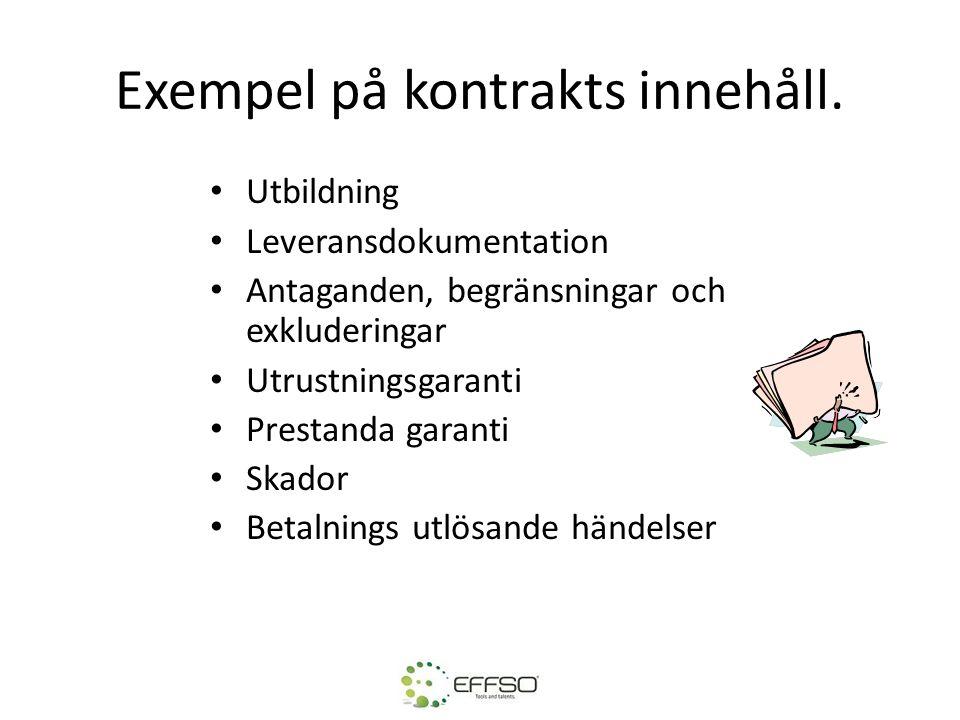 Exempel på kontrakts innehåll.