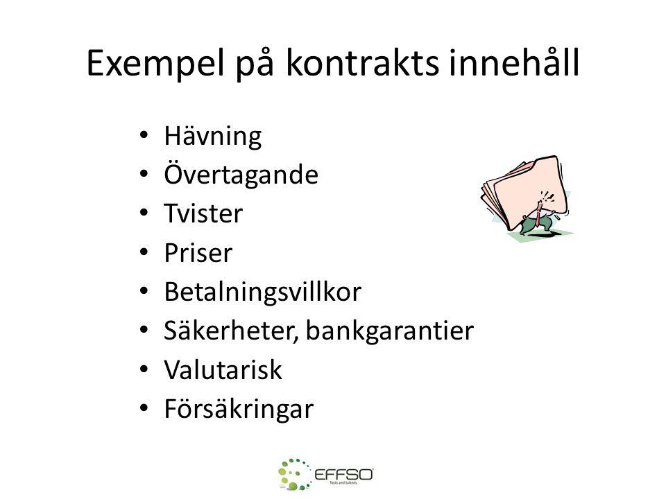 Exempel på kontrakts innehåll