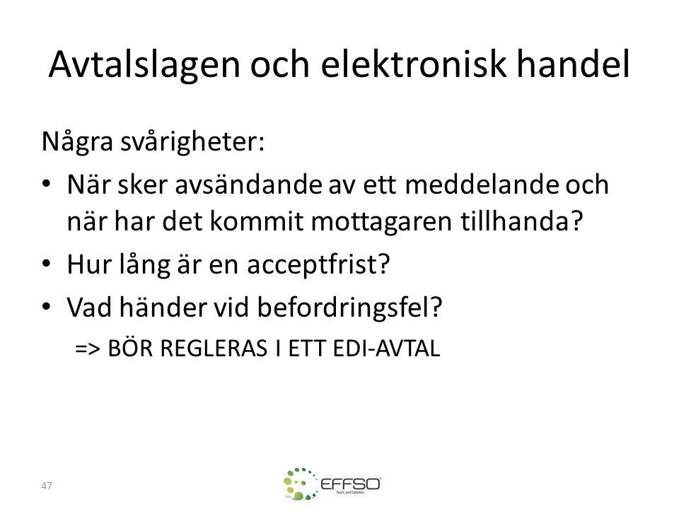 Avtalslagen och elektronisk handel