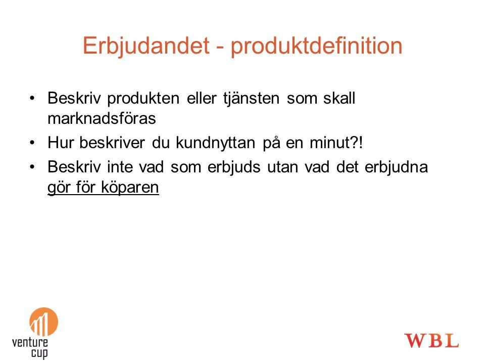 Erbjudandet - produktdefinition
