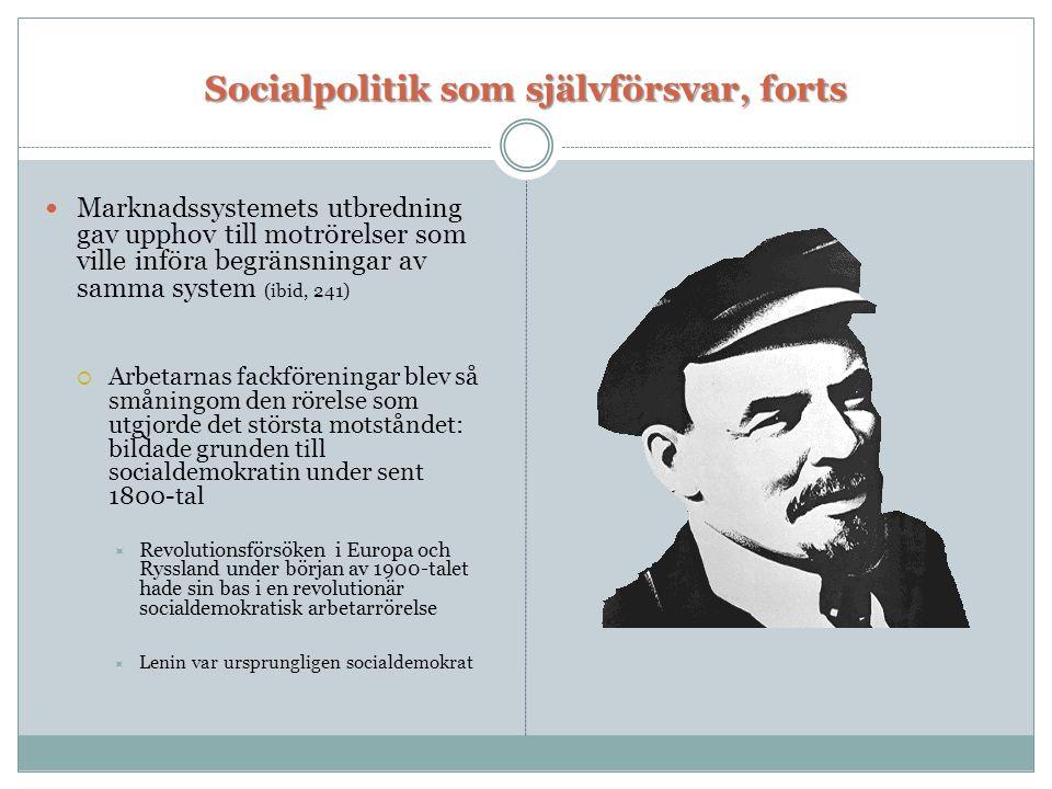 Socialpolitik som självförsvar, forts