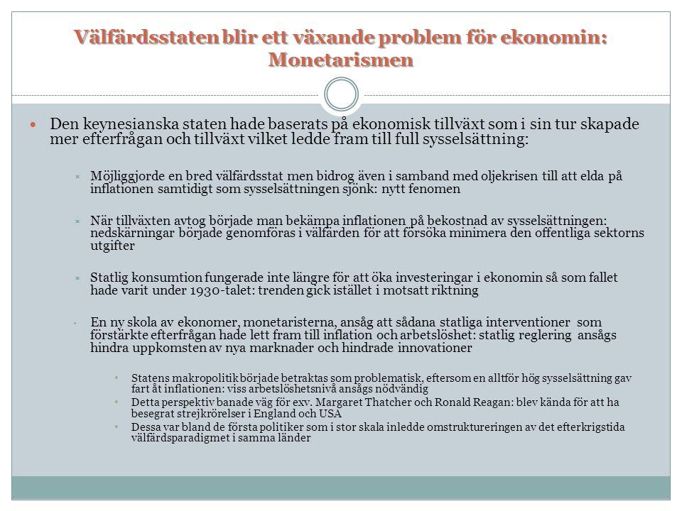 Välfärdsstaten blir ett växande problem för ekonomin: Monetarismen